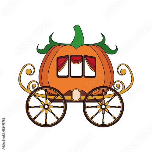 Pumpkin carriage cartoon icon vector illustration graphic design