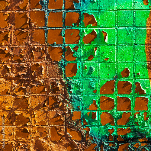 Keuken foto achterwand Betonbehang Flaky green and copper paint on the wall. Wall with old peeling and cracked paint.