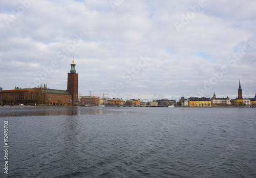 Staande foto Stockholm Stockholm City Town Hall a gray winter day