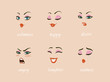 Woman character expressions set. calmness, happy, suspicion, fear, angry, laughter, sadness, desire.
