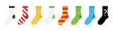 Set, collection of colorful socks icons with different ornaments isolated on white background. - 192502108