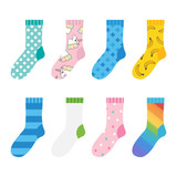 Set, collection of colorful socks icons with patterns, ornaments isolated on white background. - 192502123