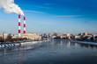 Moscow river in winter time. Moscow. Russia.
