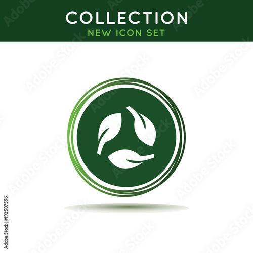 Leaves green eco icon symbol.