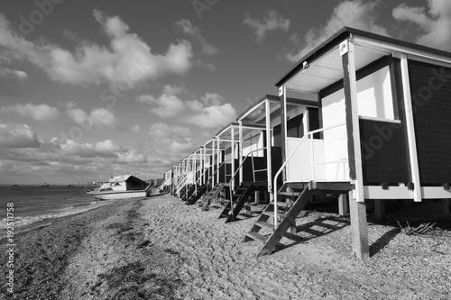 Black and white image of Thorpe Bay Beach, Essex, England