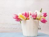 Arrangement of Fresh Spring Tulip Flowers