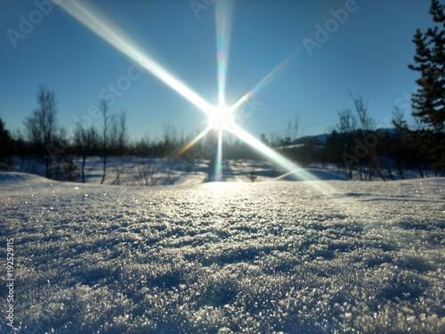 Aluminium Blauwe jeans Arctic winter sun of Norway Finnmark