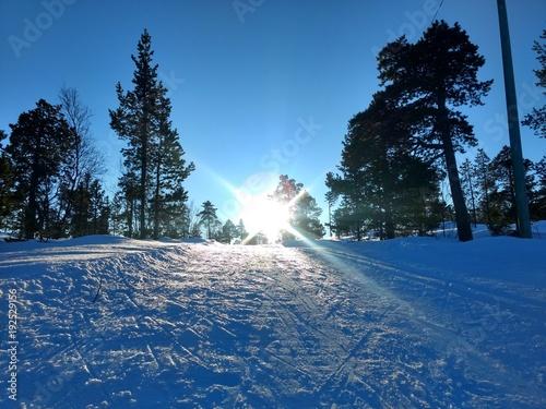 Fotobehang Nachtblauw Sunny ski track