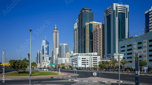 Foto op Aluminium New York Busy vehicular traffic, high buildings on Sheikh Zayed Road, the modern and developed metropolis. Dubai, UAE. Time lapse