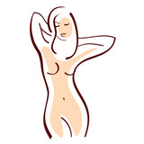 contour vector drawing of a woman figure - 192538364