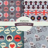 set of grey british hipster patterns - 192538516