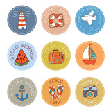 set of hand drawn vector round stickers and labels for summer travel - 192538539