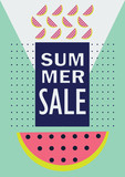 summer sale vector abstract poster with watermelon - 192538570