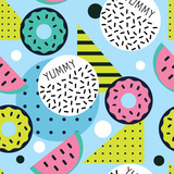 trendy pop art vector seamless pattern with donuts - 192538969