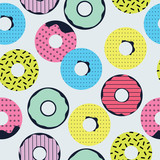 trendy vector seamless pattern with donuts - 192538988