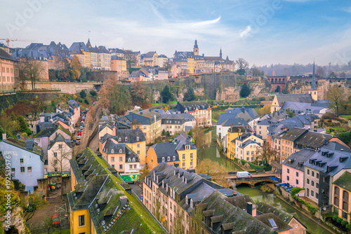 Wall mural Skyline of old town Luxembourg City from top view