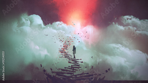 young woman standing on broken stairs leading up to sky, digital art style, illustration painting © grandfailure