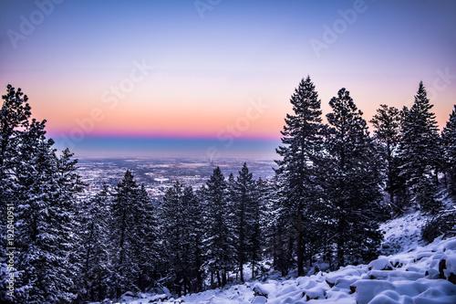 Aluminium Zwart Snowy Sunset in Colorado