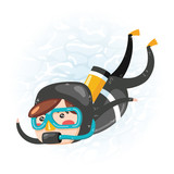 Clip art of one cute boy scuba diver in black wet suit which is ideal for creating your wallpapers, backgrounds, stickers, fabric patterns, clothing prints, labels, crafts & projects - 192549928