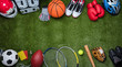 Leinwandbild Motiv Various Sport Equipments On Grass