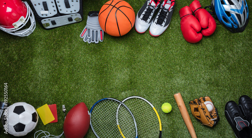 Various Sport Equipments On Grass - 192550164