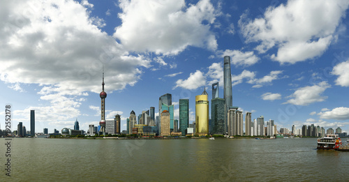 view of building of Pudong in Shanghai, China, with refection on water