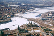 Twin cities Ottawa Ontario and Gatineau Quebec Aerial View