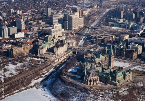 Papiers peints Canada Downtown Ottawa aerial view