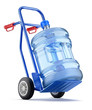 Hand truck with water dispenser bottle