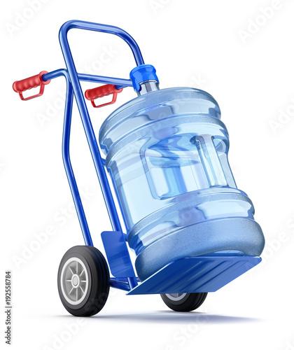 Wózek ręczny z butelką dozownika wody
