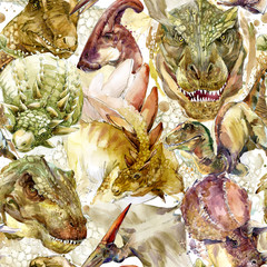 Dinosaurs seamless pattern. hand-drawn watercolor illustration