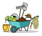 Schubkarre mit Werkzeug für Gartenarbeit - 192562740