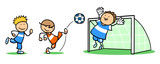 Gruppe Kinder Beim Fußball Spielen Wall Sticker