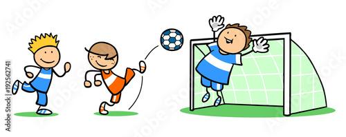 Sticker Gruppe Kinder beim Fußball spielen