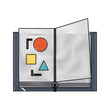 open book with basic shapes icon image vector illustration design - 192565564