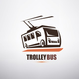 stylized cartoon trolleybus symbol, city transport logo template