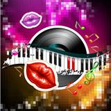 Piano keys with glossy female lips and vinyl record - 192566758