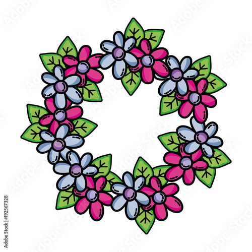 circle flowers branches with leaves decoration