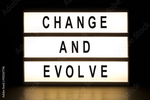 Change and evolve light box sign board