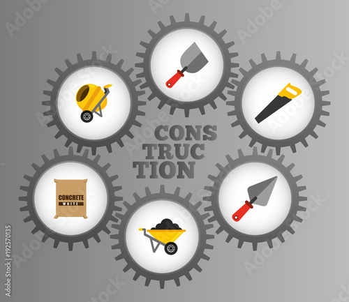 construction tools equipment inside mechanical gears gray metal background vector illustration