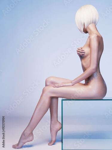 Fotobehang Women Art Nude sensual woman with fashionable hairstyle. Beautiful naked lady.