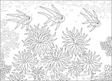 Funny fishes swimming over anemones on a coral reef in a tropical sea, a black and white vector illustration in cartoon style for a coloring book - 192571371