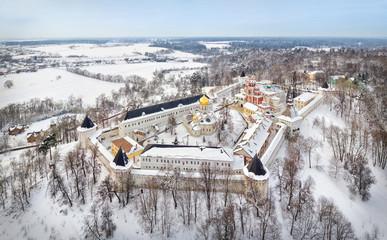 Aerial view on Savvino-Storozhevsky Monastery in winter day, Zvenigorod, Moscow oblast, Russia