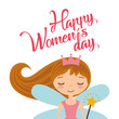 cute cartoon girl fairy card for womens day vector illustration - 192572962