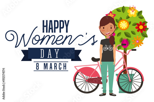 smiling young girl bike and tree flowers decoration card happy womens day vector illustration