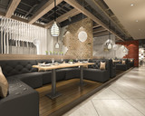 3d rendering loft and luxury hotel reception and cafe lounge restaurant - 192575533