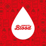 white silhouette drop blood donate medical icons background vector illustration - 192576157