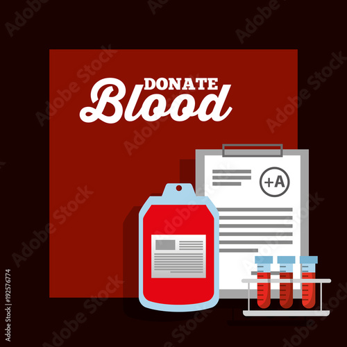 bag blood test tube and clipboard donation poster vector illustration