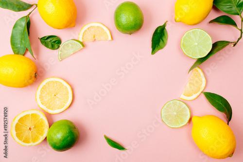 Lime and lemon frame on pink background - 192576920