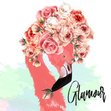 Beautiful fashion vector illustration with pink flamingo and roses - 192580342